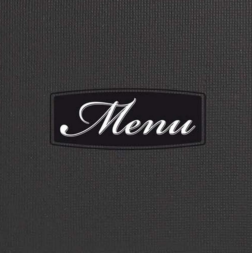 Protège-menu A4 noir personnalisable pour hôtel - restaurant