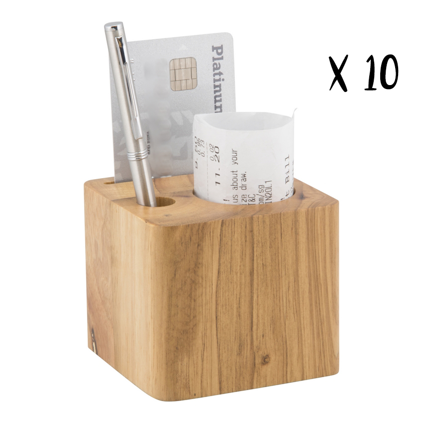 Lot de 10 porte-addition en bois modèle Cube (stylo inclus)