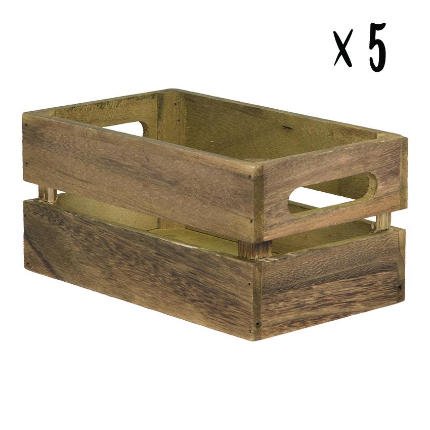 Lot de 5 caisses en bois vintage pour table hôtel - restaurant
