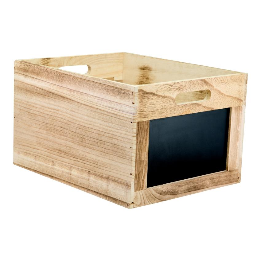 Caisse en bois avec ardoise pour protège-menus