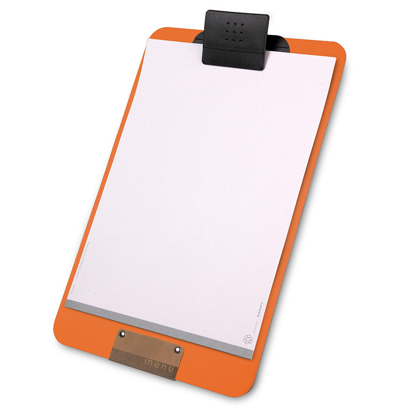 Clipboard Porte-menu orange A4 en PVC souple