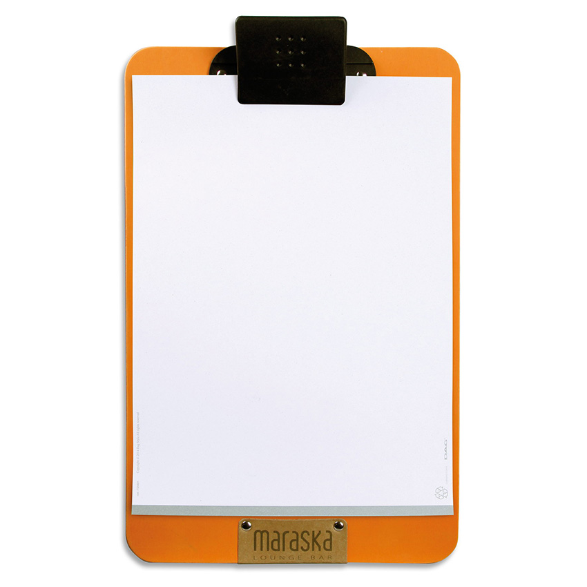 Porte menu orange A4 en PVC souple