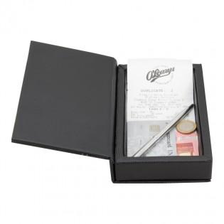 Box porte-addition tendance en simili cuir noir