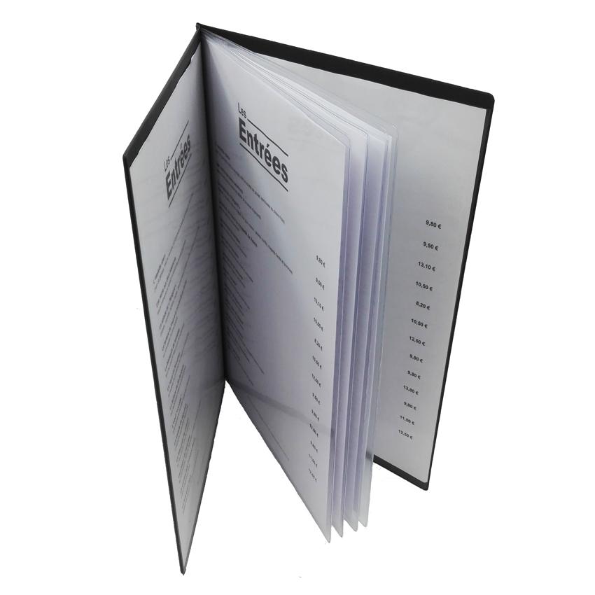 Lot de 10 Protège-menus Risto A4 bordeaux