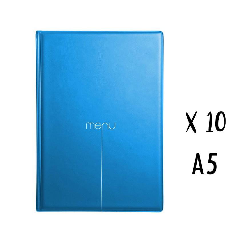 Lot de 10 protège-menus Risto A5 bleu