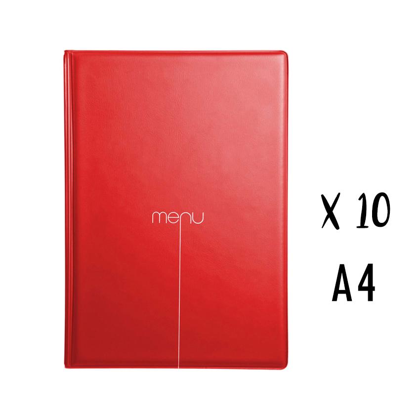 Lot de 10 protège-menus Risto A4 rouge