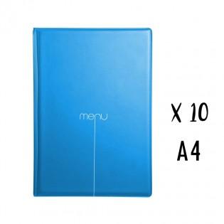 Lot de 10 protège-menus Risto A4 bleu