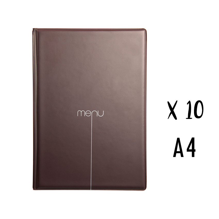 Lot de 10 Protège-menus Risto A4 marron