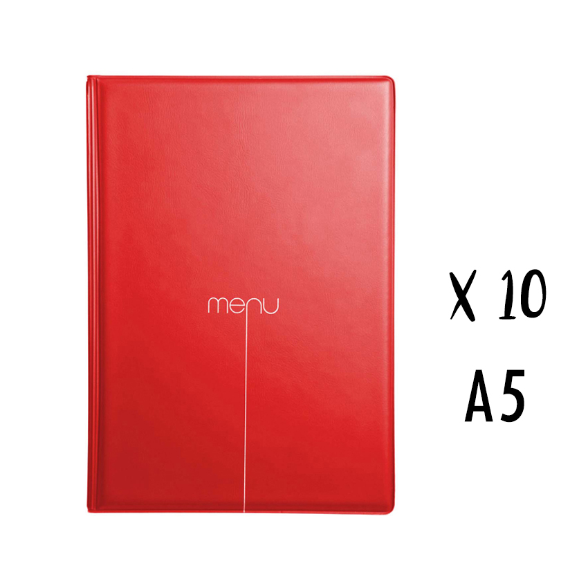 Lot de 10 protège-menus Risto A5 rouge