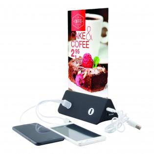 Porte menu plexi A5 avec chargeurs téléphone (câbles USB inclus)