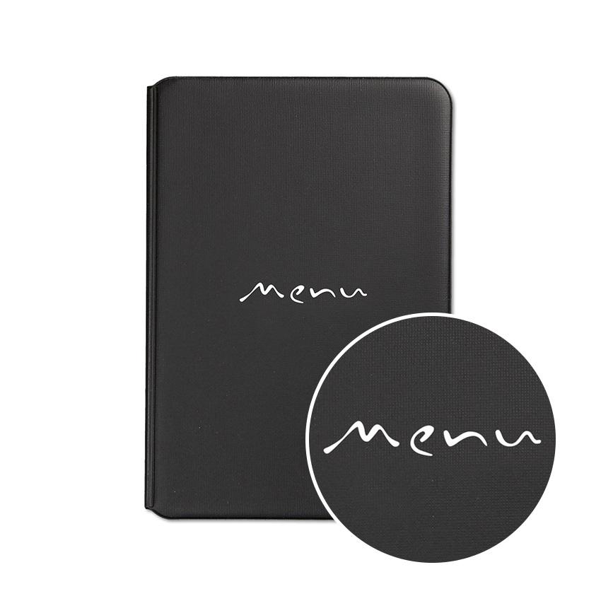"""Lot de 10 protège-menus restaurant A5 noir Toscana """"Menu"""" manuscrit"""