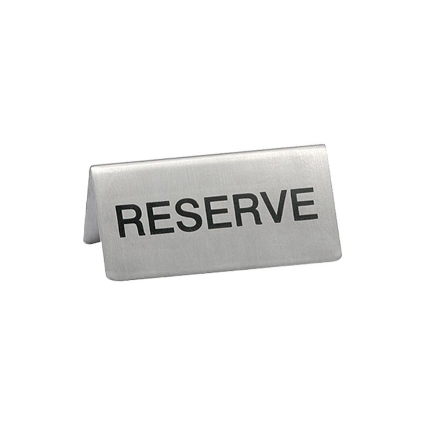 """Chevalet """"Réservé"""" Inox pour table d'hôtel - restaurant"""
