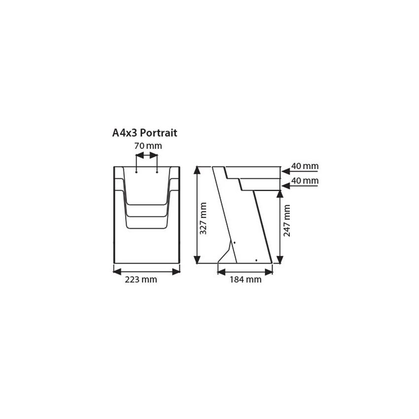 Présentoir de brochures A4 de table ou de comptoir (PLV)