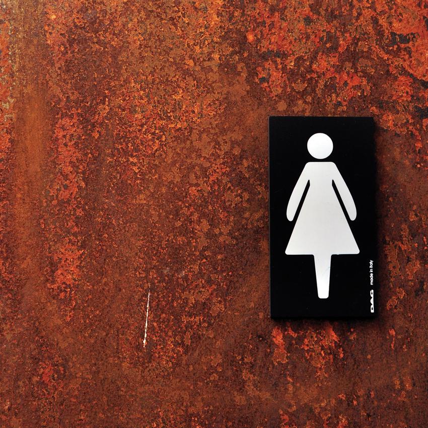 Plaque de porte pictogramme femmes - Panneau signalétique toilettes rectangle