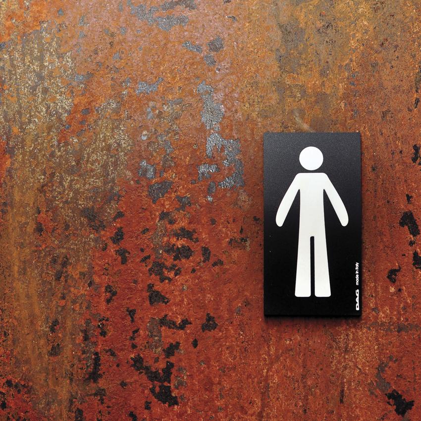 Plaque de porte pictogramme homme - Panneau signalétique toilettes rectangle