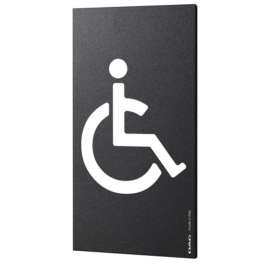 Plaque de porte pictogramme handicapé - Signalétique WC toilettes PMR