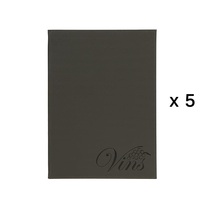Lot de 5 cartes de vins et boissons Velvet Luxe format A4