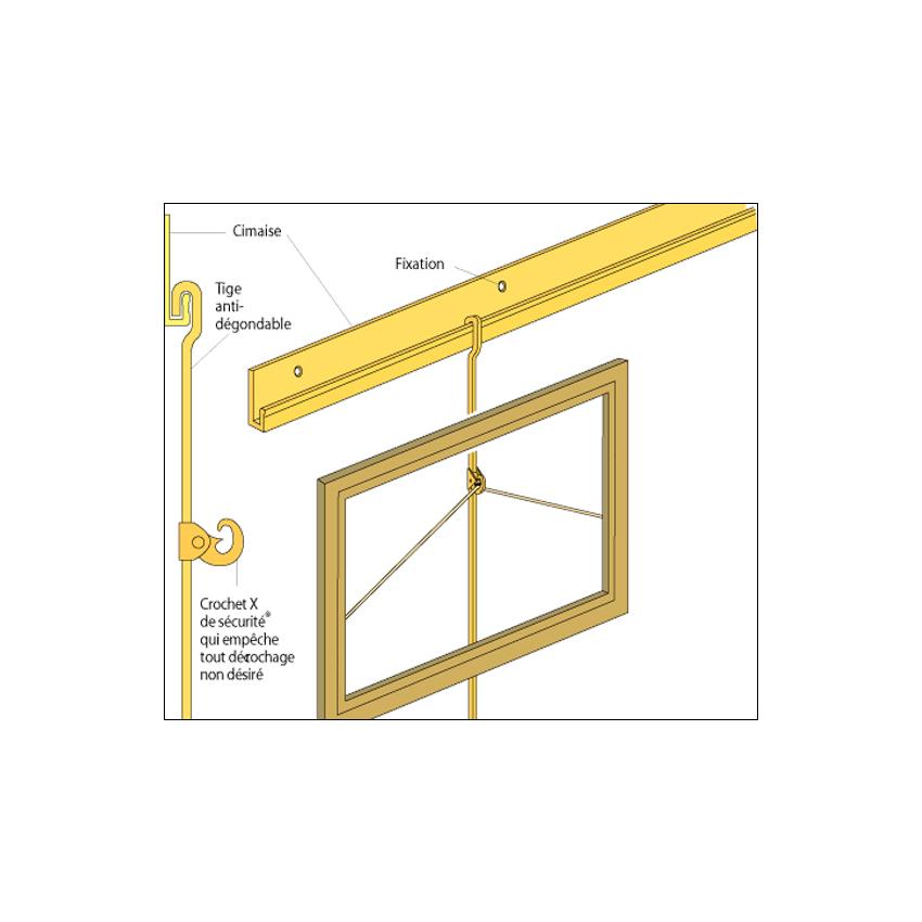Pack 10 mètres cimaises en aluminium doré pour fixation cadres et tableaux - Crochet X