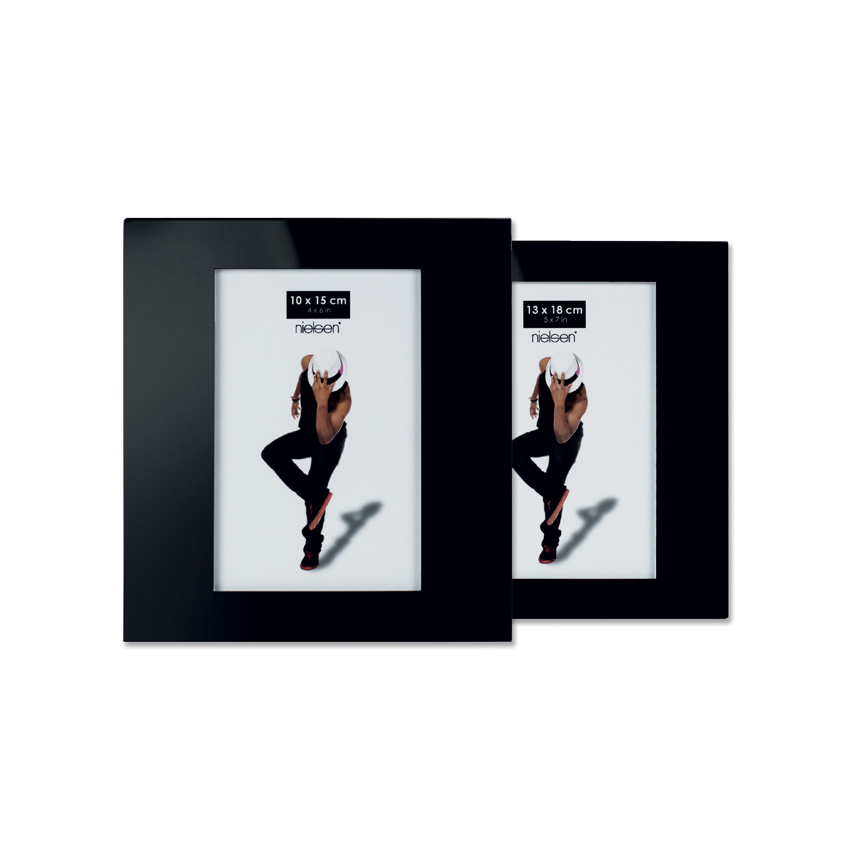 Cadre photo avec revêtement en verre Noir - Nielsen