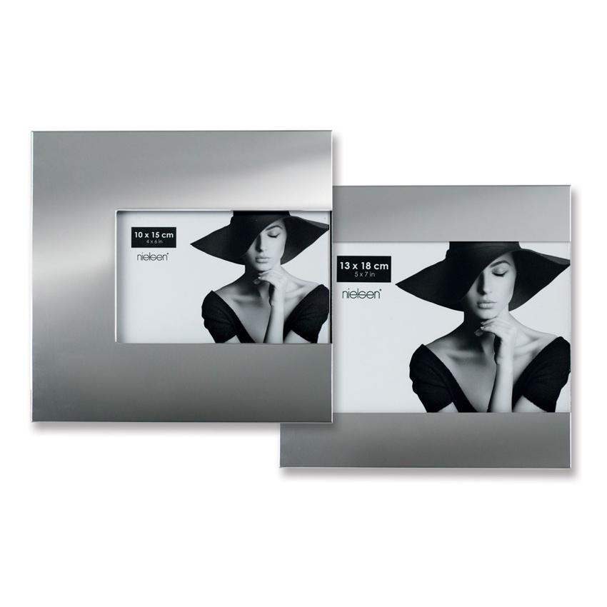 Cadre photo avec ouverture à droite argent brillant - Nielsen