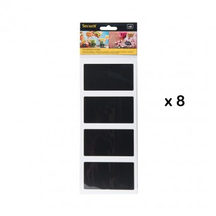 Lot de 8 étiquettes ardoises adhésives - Forme rectangle