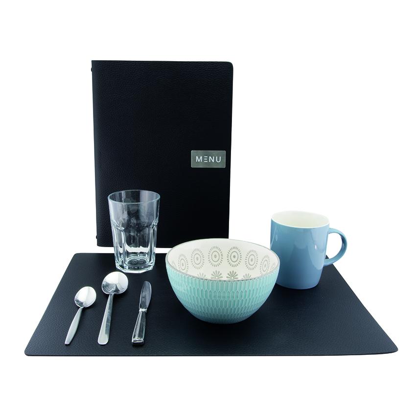 10 Sets de table rectangl en cuir noir effet peau - Securit