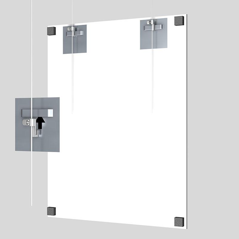 Boite de 2 attaches adhésives pour Dibond et miroir 70 x 70 mm : max 2 kg