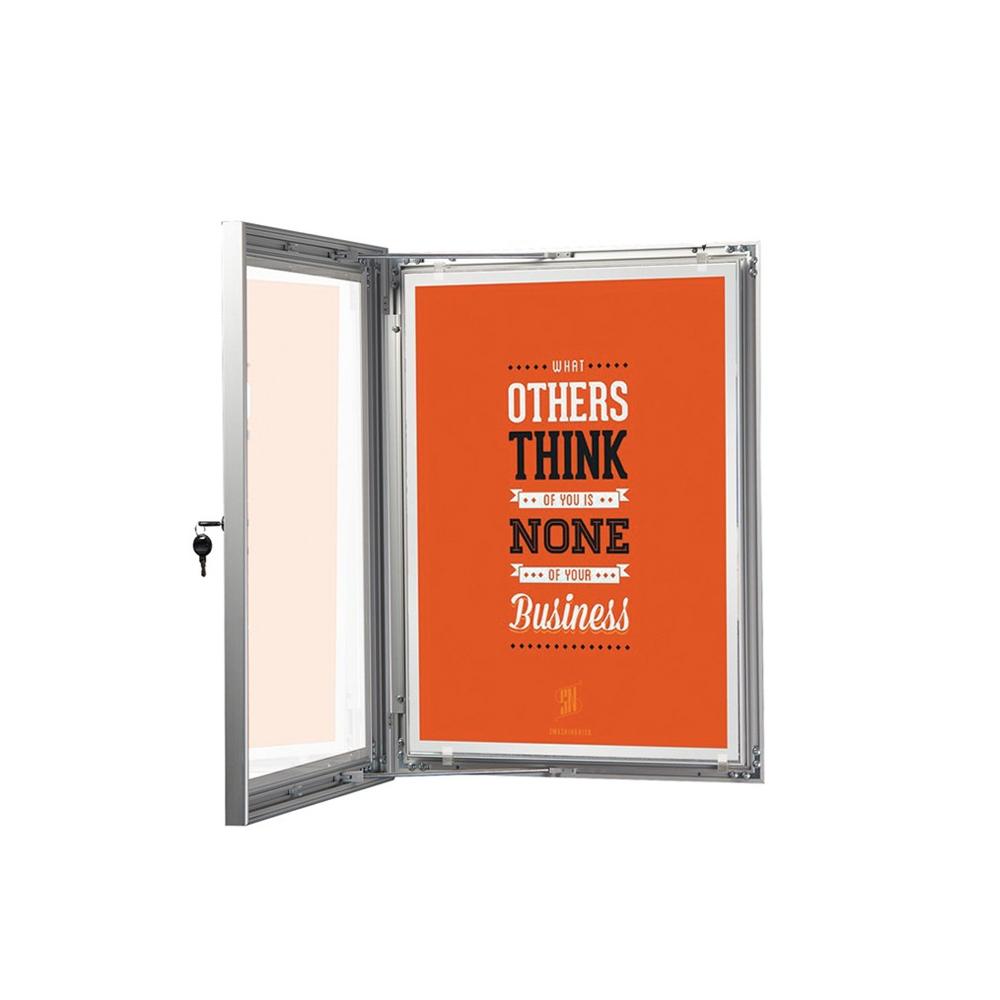 Cadre vitrine d'affichage intérieur et extérieur verrouillable et imperméable