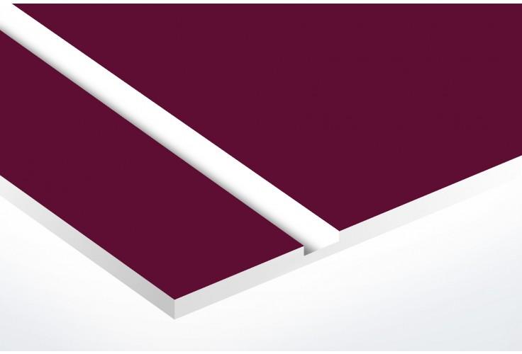 plaque boite aux lettres Decayeux (100x25mm) bordeaux lettres blanches