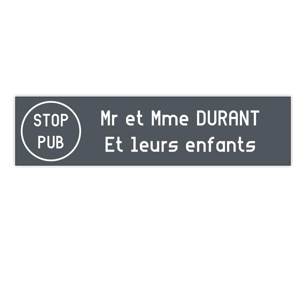 plaque boite aux lettres Decayeux STOP PUB (100x25mm) grise lettres blanches