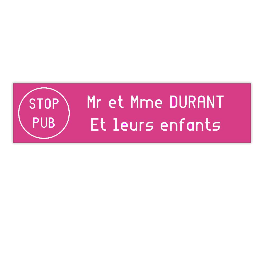 plaque boite aux lettres Decayeux STOP PUB (100x25mm) rose lettres blanches