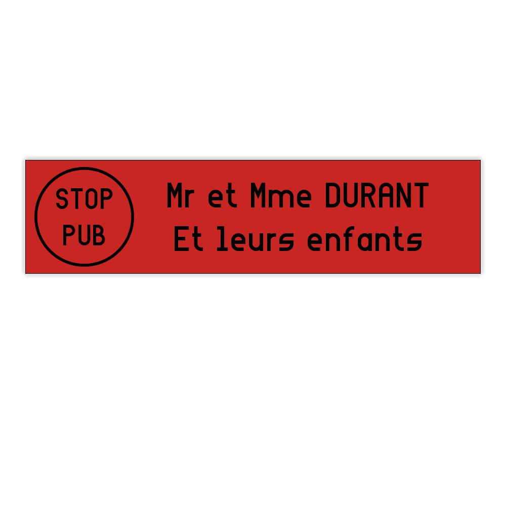 plaque boite aux lettres Decayeux STOP PUB (100x25mm) rouge lettres noires