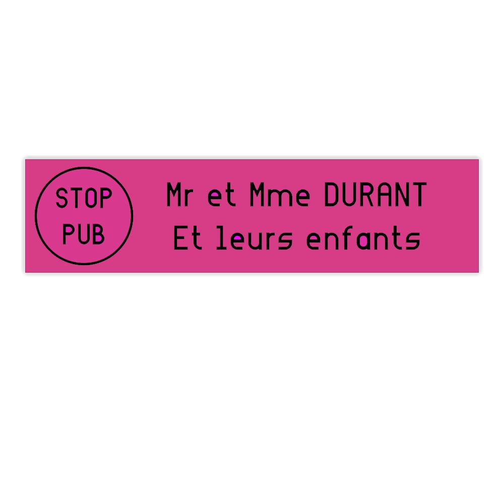 plaque boite aux lettres Decayeux STOP PUB (100x25mm) rose lettres noires
