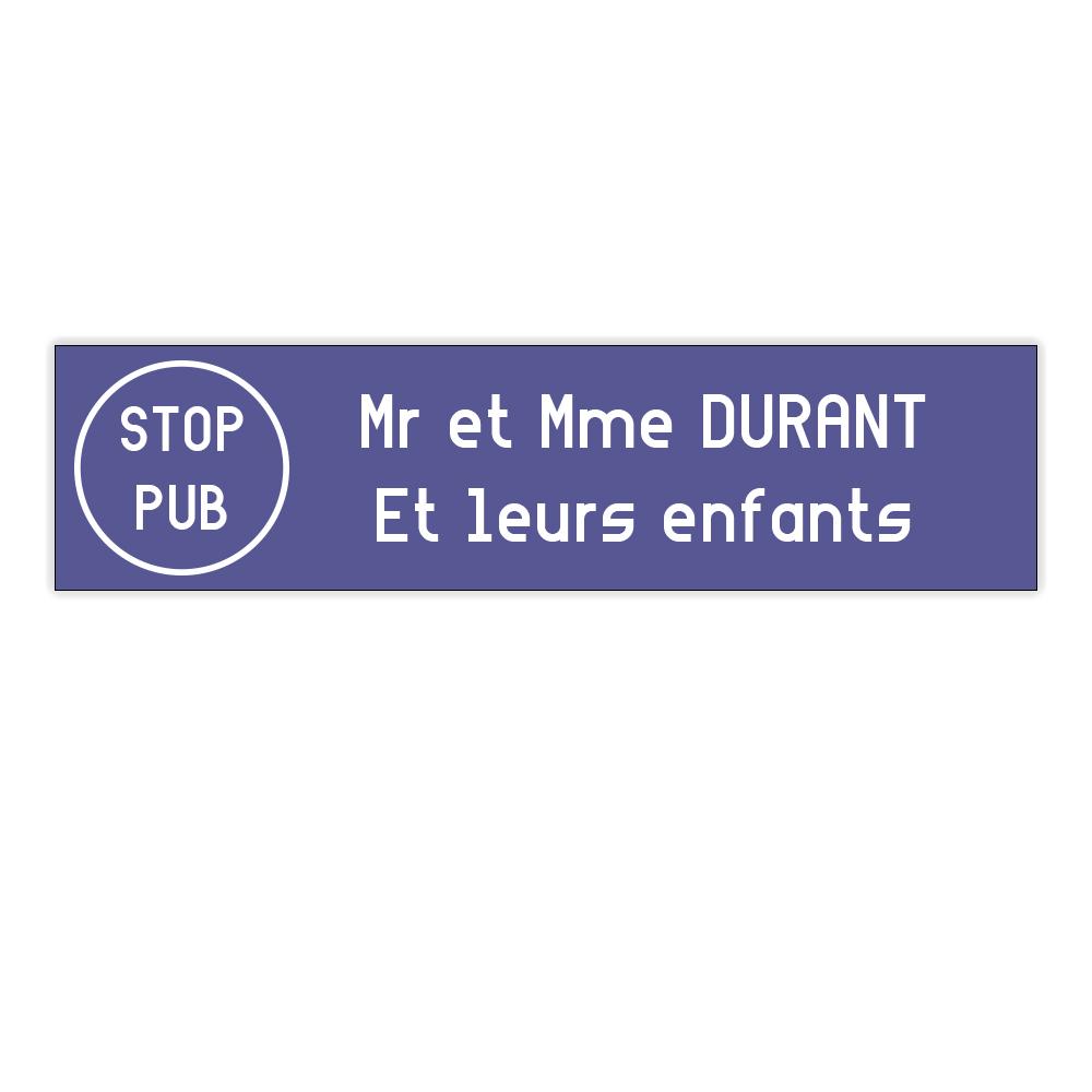 plaque boite aux lettres Decayeux STOP PUB (100x25mm) violette lettres blanches