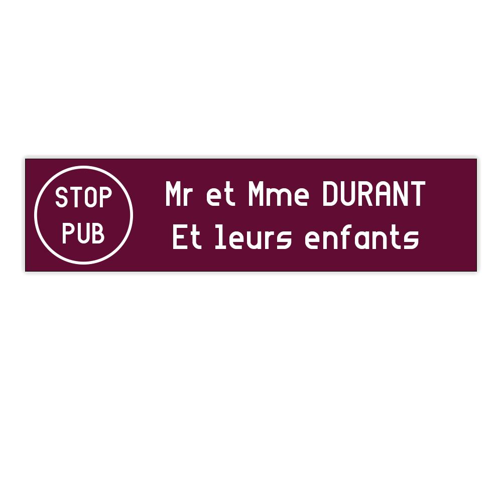 plaque boite aux lettres Decayeux STOP PUB (100x25mm) bordeaux lettres blanches