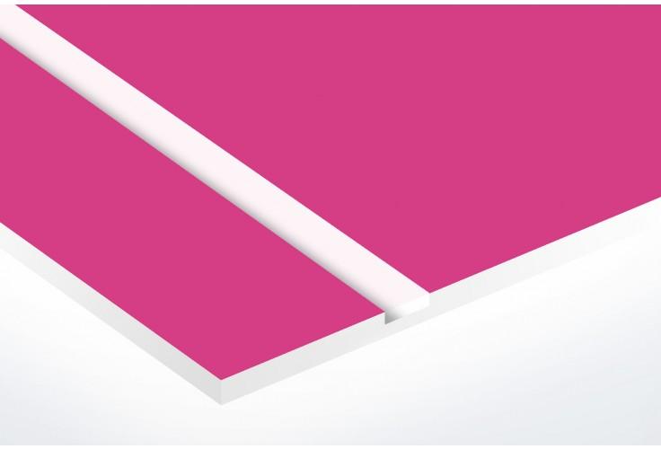 Plaque boite aux lettres Decayeux (100x25mm) rose lettres blanches - 3 lignes