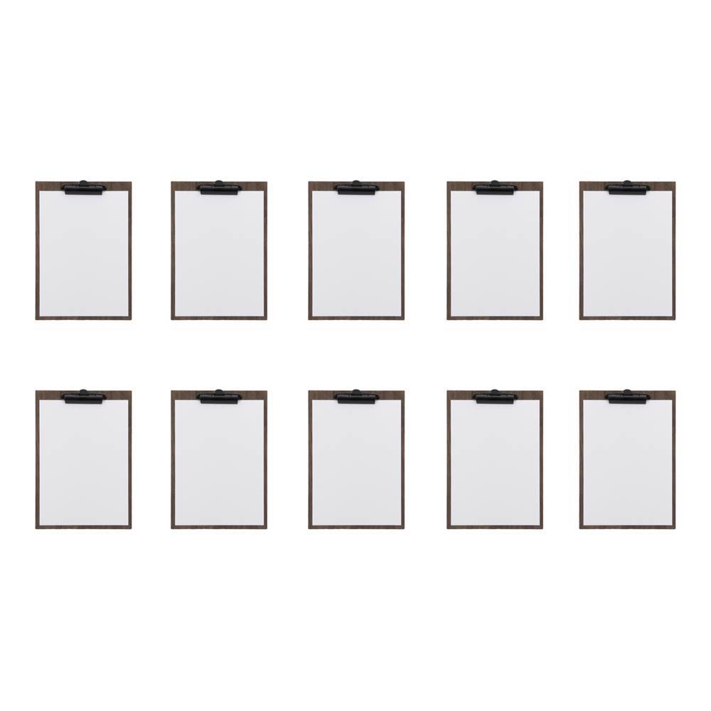 Lot de 10 porte-menus clipboard A4 en noyer