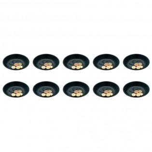 Lot de 10 coupelles porte-addition noir en plastique pour hôtel, restaurant, café, bar