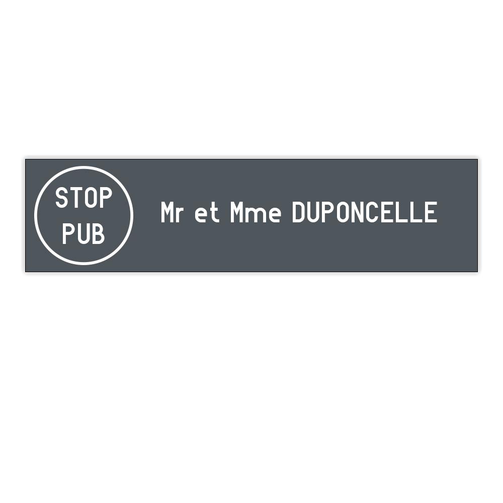 Plaque boite aux lettres Edelen STOP PUB (99x24mm) grise lettres blanches - 1 ligne