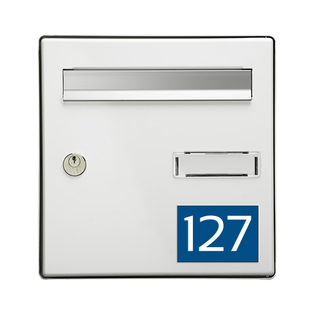 Numéro pour boite aux lettres personnalisable rectangle grand format (100x70mm) bleu chiffres blancs