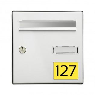 Numéro pour boite aux lettres personnalisable rectangle grand format (100x70mm) jaune chiffres noirs