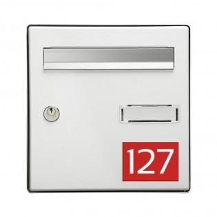 Numéro pour boite aux lettres personnalisable rectangle grand format (100x70mm) rouge chiffres blancs