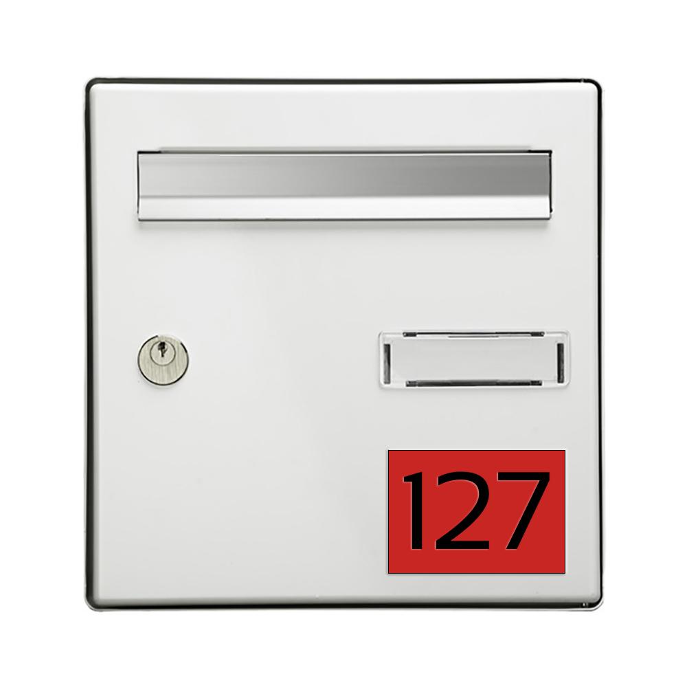 Numéro pour boite aux lettres personnalisable rectangle grand format (100x70mm) rouge chiffres noirs
