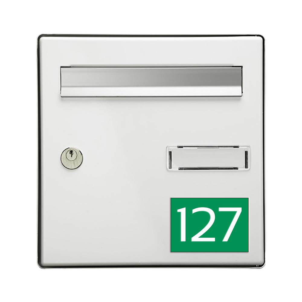 Numéro pour boite aux lettres personnalisable rectangle grand format (100x70mm) vert pomme chiffres blancs