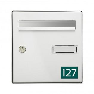 Numéro pour boite aux lettres personnalisable rectangle format médium (70x50mm) vert foncé chiffres blancs