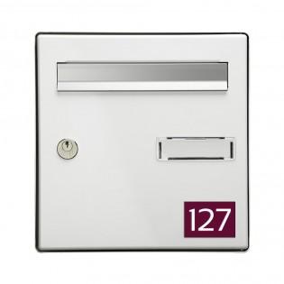 Numéro pour boite aux lettres personnalisable rectangle format médium (70x50mm) bordeaux chiffres blancs