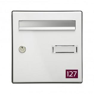 Numéro pour boite aux lettres personnalisable rectangle petit format (50x35mm) bordeaux chiffres blancs