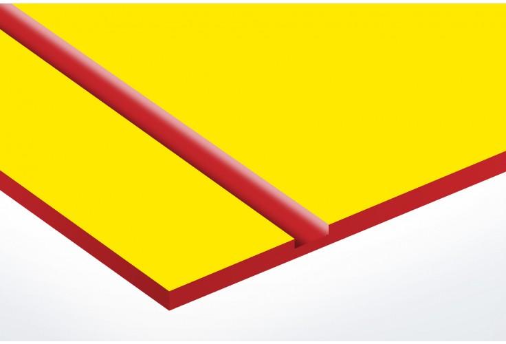 Numéro pour boite aux lettres personnalisable rectangle petit format (50x35mm) jaune chiffres rouges