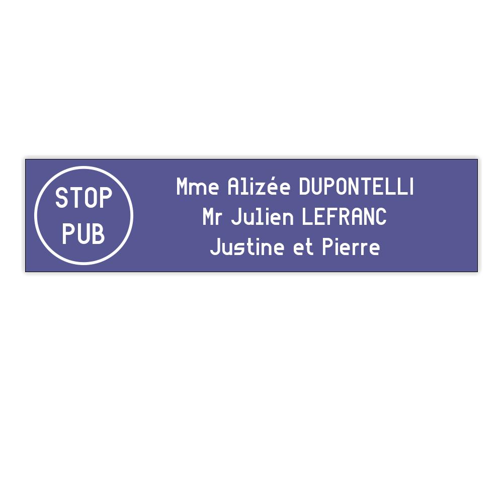 Plaque boite aux lettres Edelen STOP PUB (99x24mm) violette lettres blanches - 3 lignes