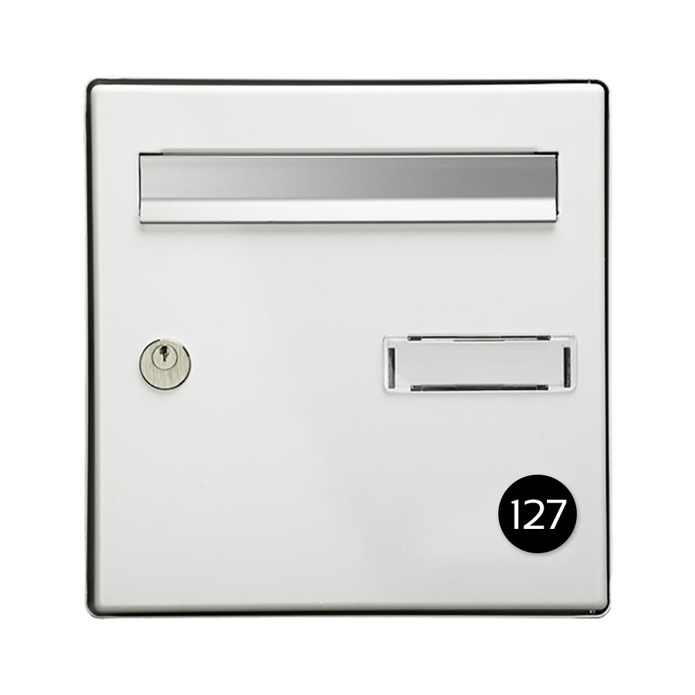 Numéro pour boite aux lettres personnalisable format rond diamètre 40 mm couleur noir chiffres blancs